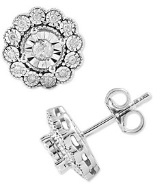 Diamond Flower Stud Earrings (1/3 ct. t.w.) in Sterling Silver