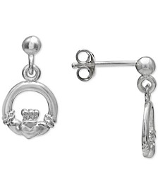Irish Claddagh Drop Earrings in Sterling Silver, Created for Macy's