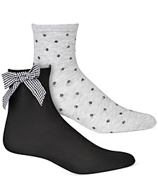 INC Women's 2-Pk. Plaid Bow & Dot-Print Anklet Socks, Created for Macy's