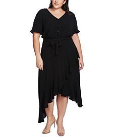Plus Size Ruffled-Sleeve Asymmetrical-Hem Dress