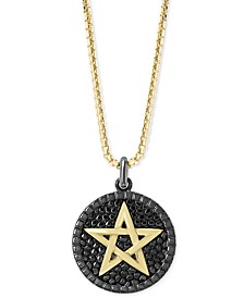 "EFFY® Men's Star Circular 22"" Pendant Necklace in Sterling Silver and 18k Gold Over Silver"
