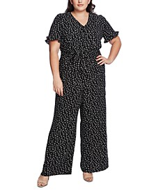 Plus Size Printed V-Neck Jumpsuit