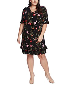 Plus Size Ruffled Floral-Print Dress