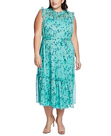 Plus Size Wisteria Vines Ruffled Midi Dress