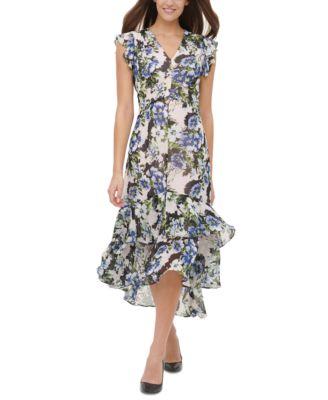 Off Shoulder Midi Kleid Carmen Flower Print
