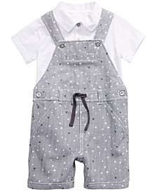 Baby Boys 2-Pc. Shirt & Geo-Print Striped Shortalls Set, Created for Macy's