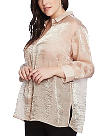 Plus Size Shimmering Organza Blouse