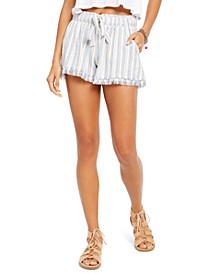 Juniors' Striped Tie-Front Raw-edged Shorts