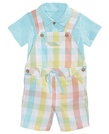 Baby Boys 2-Pc. Polo Shirt & Plaid Shortalls Set, Created for Macy's
