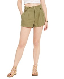 Juniors' Button-Tab Paper-Bag Waist Shorts