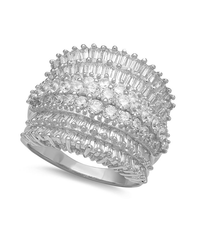 Macy's - Cubic Zirconia Multi Row Princess, Baguette & Pave Band (4-1/5 ct. t.w.) in Sterling Silver or 18k Gold over Silver