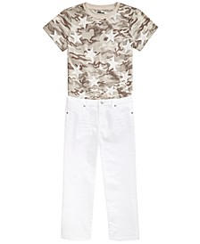 Big Boys Desert Camo Star T-Shirt & Stretch Textured Twill White Jeans, Created For Macy's