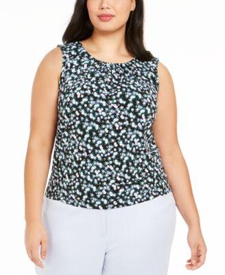 Plus Size Floral-Print Pleat-Neck Top