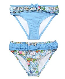 Baby Girls Scrapbook Print Frilled Nappy Swimsuit Bottom - Set of 2