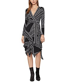 Striped Printed Asymmetrical-Hem Dress
