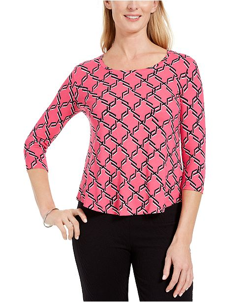 JM Collection Petite Geo-Print Top, Created for Macy's