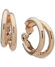 """Gold-Tone Medium Tubular Clip-On Double-Hoop Earrings, 1.25"""""""