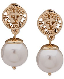 Gold-Tone Lion & Imitation Pearl Clip-On Drop Earrings