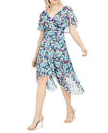 Flutter-Sleeve Floral Pleated Midi Dress