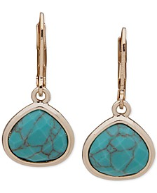 Gold-Tone Turquoise-Look Stone Drop Earrings