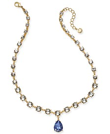 """Crystal & Stone Teardrop Lariat Necklace, 17"""" + 2"""" extender, Created For Macy's"""