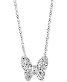"EFFY® Diamond Pavé Butterfly 18"" Pendant Necklace (1/10 ct. t.w.) in Sterling Silver"