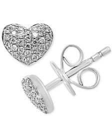 EFFY® Diamond Pavé Heart Stud Earrings (1/5 ct. t.w.) in Sterling Silver