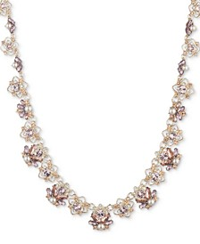 "Gold-Tone Crystal & Imitation Pearl Collar Necklace, 16"" + 3"" extender"