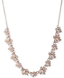 "Rose Gold-Tone Pavé & Stone Statement Necklace, 16"" + 3"" extender"
