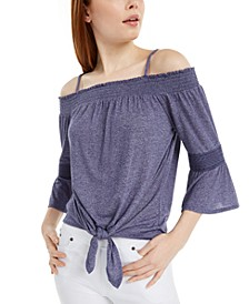 Juniors' Off-The-Shoulder Shirred Top