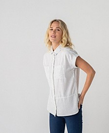 Thread Supply Striped Double Front Pocket Short Sleeve Woven