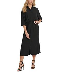 Dolman-Sleeve Cinched Shirtdress