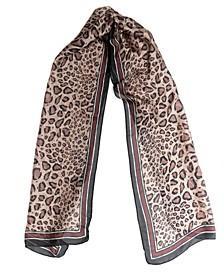 Logo Stripe Leopard Oblong Scarf
