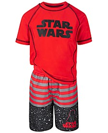 Little Boys 2-Pc. Star Wars Rash Guard & Swim Trunks Set