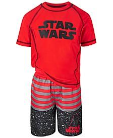 Little Boys 2-Pc. Star Wars Rash Guard & Swim Trunks Set