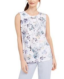 Floral-Print Pleat-Neck Top