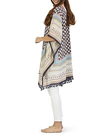 Roberta Moorish Pattern Poncho with Hand Stitched Embroidery and Tassels
