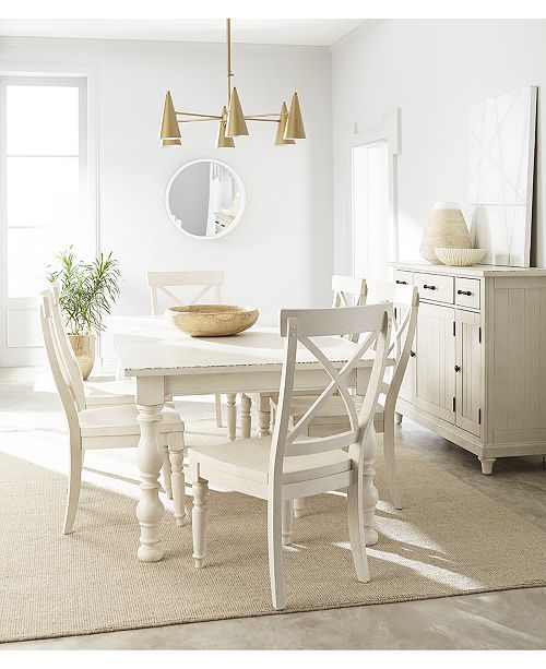 Furniture Aberdeen Worn White Expandable Dining Furniture 7 Pc Set Table 6 Side Chairs Reviews Furniture Macy S
