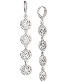 Silver-Tone Crystal Halo Linear Drop Earrings