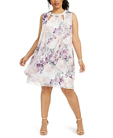 Plus Size Floral Chiffon Cutout Dress