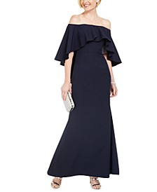 Off-The-Shoulder Capelet Gown