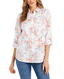 Printed Roll-Sleeve Button-Front Linen-Blend Shirt, Created for Macy's
