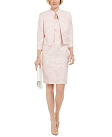 Floral Metallic Jacquard Dress and Jacket