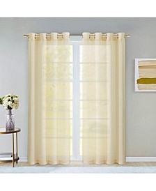 "Malibu Linen Look Sheer Grommet Window Panel, 110"" x 84"""