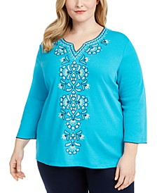 Plus Size Easy Street Embroidered Top