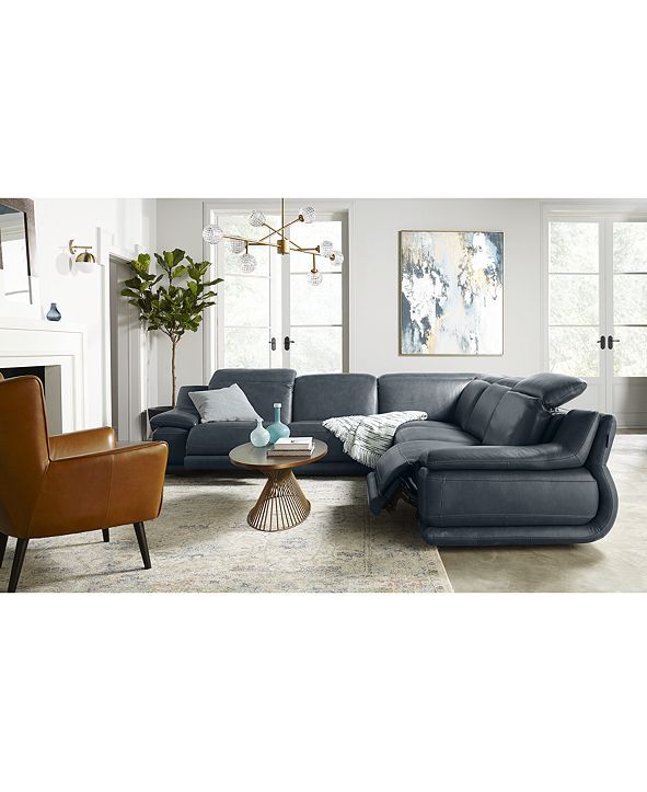 """Furniture Daisley 5-Pc. Leather """"L"""" Shaped Sectional Sofa with 2 Power Recliners"""