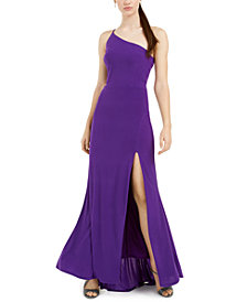Jump Juniors' Cutout One-Shoulder Gown