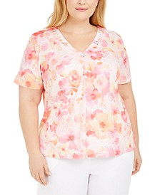 Plus Size V-Neck Printed Top
