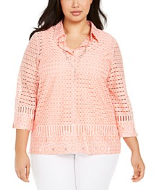 Plus Size Button-Front Necklace Top