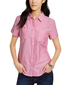 Cotton Dot-Print Camp Shirt